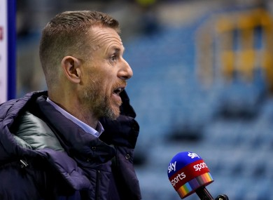 Millwall manager Gary Rowett speaks to the press.