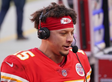 Patrick Mahomes is interviewed after the Chiefs' victory.