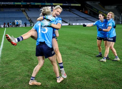 Dublin's Nicole Owens and Caoimhe O'Connor celebrate after the game.