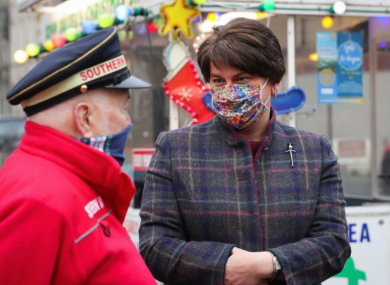 Arlene Foster meets a hospice fundraiser in Newry.