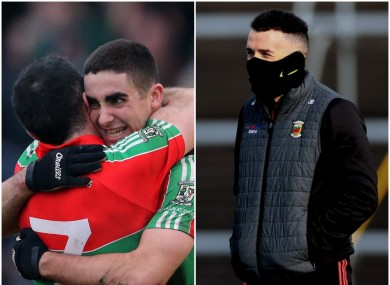 James Burke hugs James McCarthy after the 2012 Dublin SFC final (left) and in his current role as Mayo coach (right).
