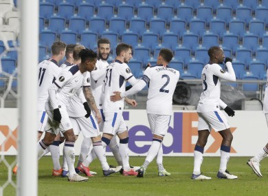 Rangers players celebrate after Ianis Hagi's goal.