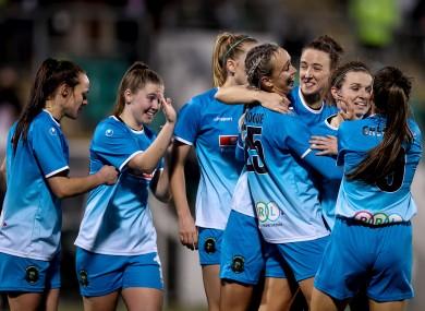 Peamount celebrate Stephanie Roche's second goal.