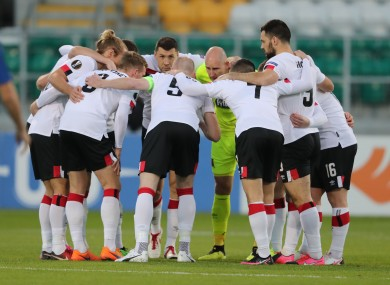 The Dundalk team in a huddle prior to their Europa League game against Molde at Tallaght Stadium in October.