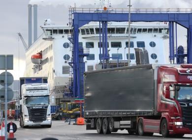 File photo. Trucks at Dublin Port.