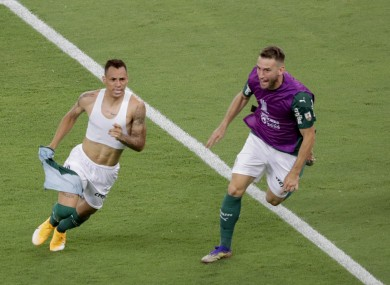 Breno Lopes celebrates the winning goal.