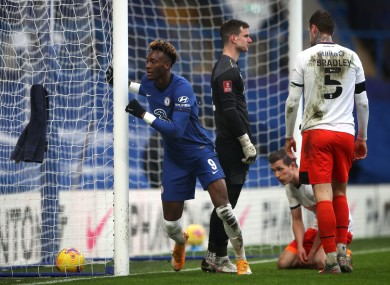 Chelsea striker Tammy Abraham pictured after completing his hat-trick against Luton Town.