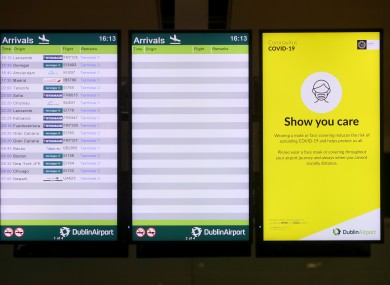 An arrivals screen in Terminal 2 of Dublin Airport on 16 January.