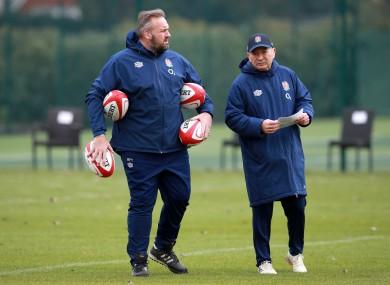 England coaches Matt Proudfoot and Eddie Jones.