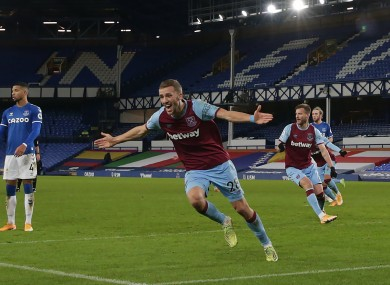 West Ham United's Tomas Soucek celebrates scoring.