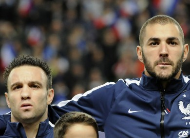Karim Benzema (right) and Mathieu Valbuena as France team-mates in 2014.