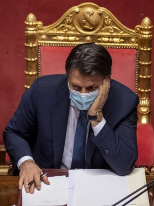 Italian Prime Minister Giuseppe Conte attends a debate ahead of a confidence vote in the Senate. 20 January.