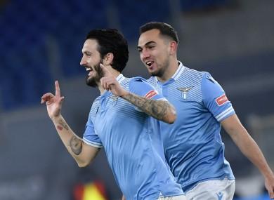 Luis Alberto of Lazio celebrates after scoring.
