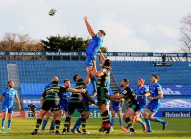 Ryan wins a line-out on his last appearance against Northampton.