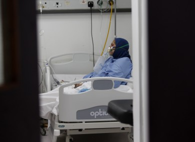 A patient is treated at Rafic Hariri University Hospital in Beirut, Lebanon.