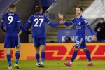 Leicester City's James Maddison celebrates scoring his side's second goal.