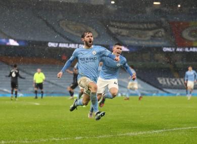 Bernardo Silva celebrates his goal.