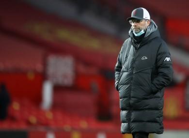 Jurgen Klopp at Old Trafford this afternoon.
