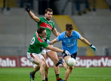 Mayo and Dublin players in action in the All-Ireland final.