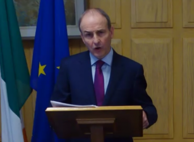 Taoiseach Micheál Martin during today's speech to the IIEA.
