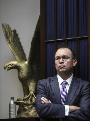 Mick Mulvaney during his time as White House chief of staff at a coronavirus briefing.