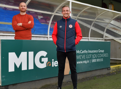 John Mountney at Richmond Park with Saints boss Stephen O'Donnell.