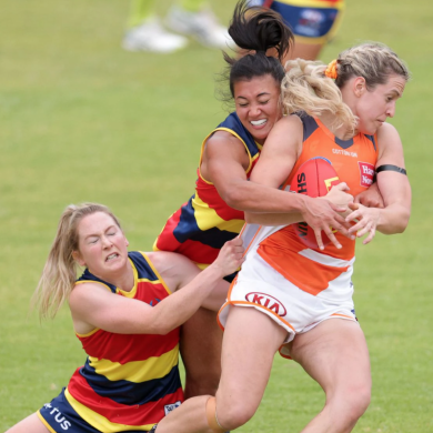 Bríd Stack is tackled by fellow Irishwoman Ailish Considine earlier in yesterday's AFLW practice match.