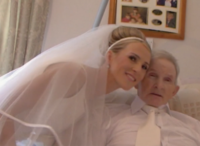 Thérèse Maher pictured with her father on her wedding day.