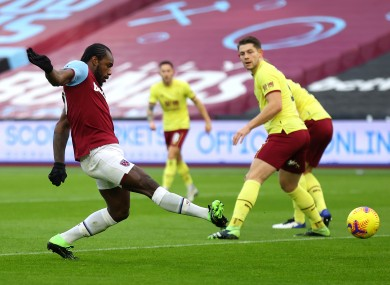 Antonio scores the vital goal for West Ham.