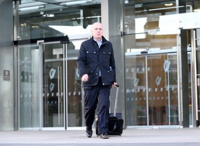 Former chief executive of Anglo Irish Bank David Drumm leaving the Dublin Circuit Criminal Court in February 2018.
