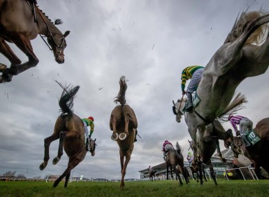 A general view of the runners and riders at Leopardstown today.