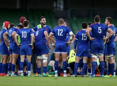 The France team in a huddle during their win over Ireland.