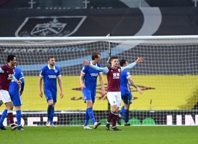 Burnley's Johann Berg Gudmundsson celebrates scoring.