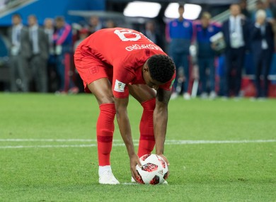Marcus Rashford prepares for his penalty against Colombia at the 2018 World Cup.