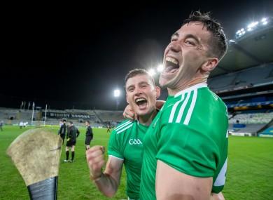 Gearoid Hegarty and Sean Finn celebrate after winning last year's All-Ireland hurling final.