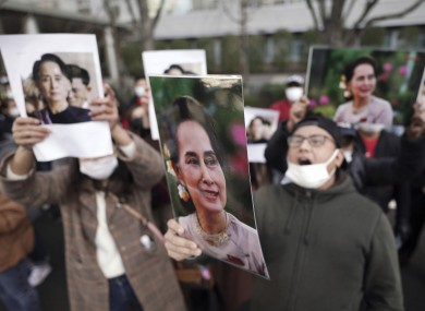 A protest in Japan in front of the Foreign Ministry in in Tokyo.