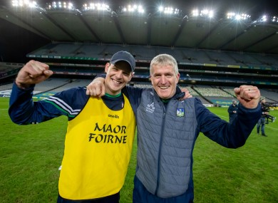 Limerick manager John Kiely and coach Paul Kinnerk after the 2020 All Ireland SHC final.