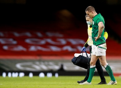 Ireland captain Johnny Sexton leaves the field during Sunday's defeat to Wales.