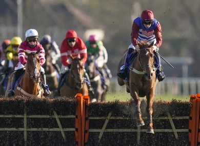 Tritonic ridden by Adrian Heskin clears the last to win The Close Brothers Adonis Juvenile Hurdle during the Close Brothers Chase Day at Kempton.