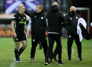 Scott Brown and Neil Lennon after the game.