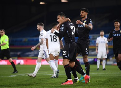 Aston Villa's Anwar El Ghazi (21) celebrates scoring the only goal of the game.