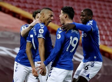 Everton's Richarlison (second left) celebrates.