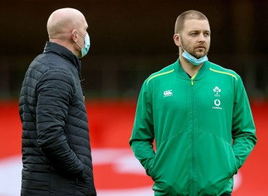 Iain Henderson with Ireland forwards coach Paul O'Connell.