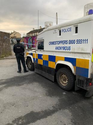 PSNI at the scene in the Creggan