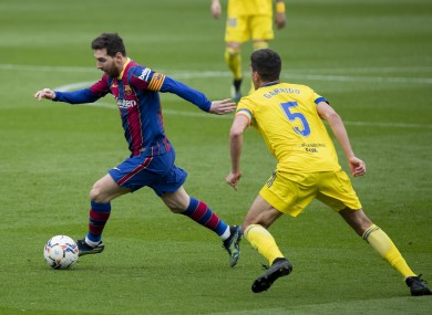 Lionel Messi in action against Cadiz.