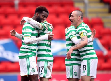 Celtic players celebrate after a goal from Odsonne Edouard.