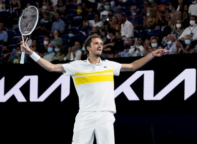 Daniil Medvedev reacts after winning the match.