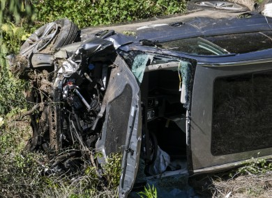 Woods' vehicle in the aftermath of the crash.