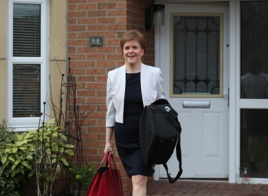 First Minister of Scotland, Nicola Sturgeon, leaves her home in Glasgow.
