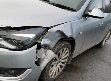 A police issued photograph of the damaged PSNI patrol car.
